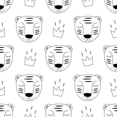 In Bianco E Nero Tigre Bambino Con Corona Seamless Stile Di Carta