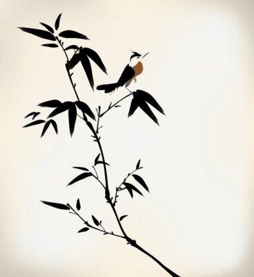 Carta da parati inchiostro dipinto di bambù e uccelli