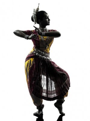 Carta da parati indian donna ballerina silhouette danza