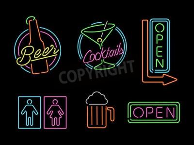 Carta da parati Insieme di retro stile Neon Sign luce contorno icone per la barra, birra, business aperto, cocktail e il simbolo bagno.