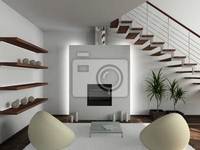 Carta Da Parati Moderna Per Soggiorno : Interior design moderno di soggiorno rendering d carta da parati