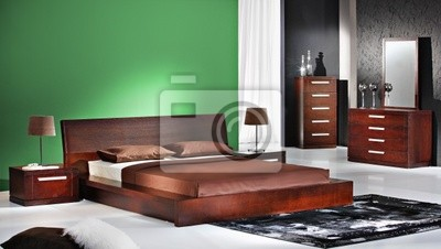Interni camera da letto verde carta da parati • carte da parati ...