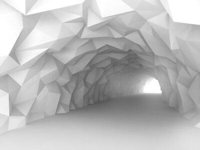 Carta da parati interno tunnel con caotico sollievo poligonale muri