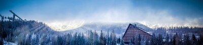 Carta da parati inverno scenico vista panoramica della montagna con una piattaforma albergo e salto con gli sci, il sole coperto di nuvole