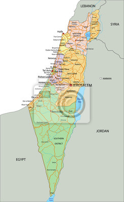 Cartina Fisica Dell Israele.Israele Molto Dettagliate Mappa Politica Modificabile Con Carta Da Parati Carte Da Parati Israeliano O Gerusalemme Myloview It
