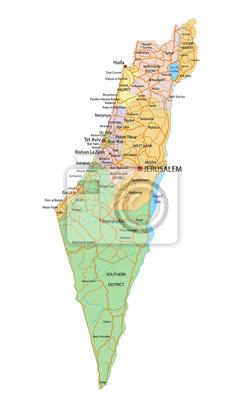 Cartina Politica Israele.Israele Molto Dettagliate Mappa Politica Modificabile Con Carta Da Parati Carte Da Parati Israeliano O Gerusalemme Myloview It
