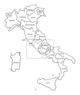 Cartina Italia Regioni E Confini.Italia Cartina Confini Regionali Carta Da Parati Carte Da Parati Puglia Piemonte Regionale Myloview It