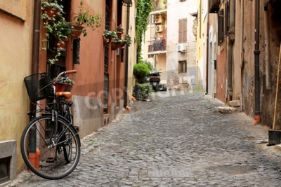 Carta da parati Italia, strada con bicicletta e fiori a Roma