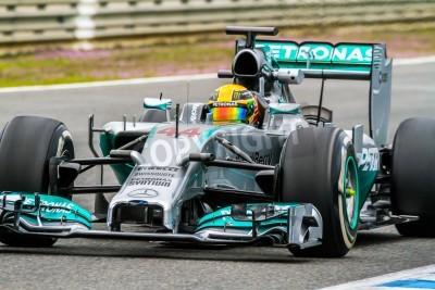 Carta da parati JEREZ DE LA FRONTERA, SPAGNA - 31 gennaio: Lewis Hamilton delle corse Mercedes di F1 sul corso di formazione il 31 gennaio 2014, a Jerez de la Frontera, Spagna
