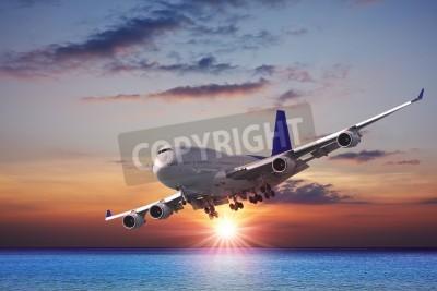 Carta da parati Jet di linea per il mare al tramonto