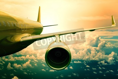 Carta da parati jet passeggeri flyin sopra nuvola uso scape per il trasporto aereo e viaggiare sfondo di affari