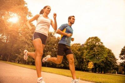 Carta da parati Jogging insieme - Sport giovane coppia