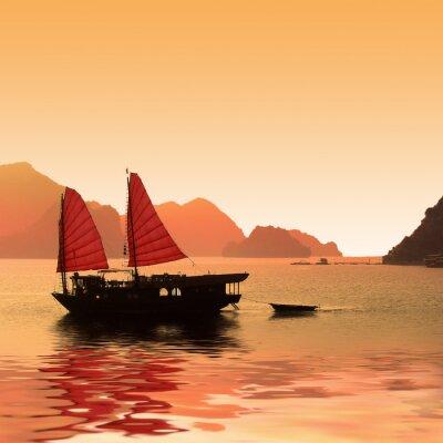 Carta da parati Jonque dans la Baie d'Halong - Vietnam