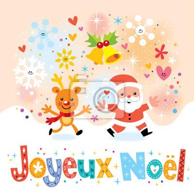 Auguri Di Buon Natale E Felice Anno Nuovo In Francese.Carta Da Parati Joyeux Noel Buon Natale In Greeting Card Francese