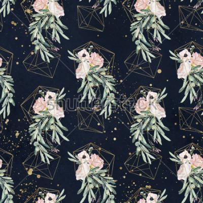 Carta da parati L'acquerello senza rami con rami di ulivo, foglie, mazzi di fiori arrossire, spruzzi di vernice e forme geometriche d'oro su sfondo nero