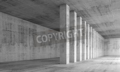 Carta da parati l'architettura di fondo astratto, vuoto interiore con pareti e colonne di cemento in una fila, illustrazione 3D con effetto prospettico