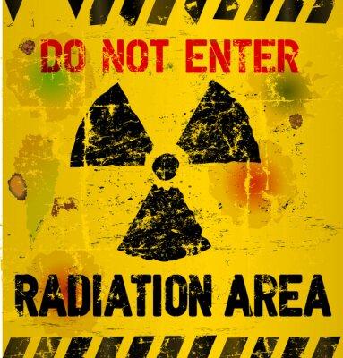 Carta da parati L'avvertenza di area Radiazione, illustrazione vettoriale