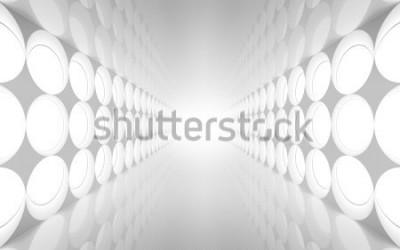 Carta da parati L'interno bianco dell'estratto 3d con la decorazione rotonda illumina il modello sulla parete