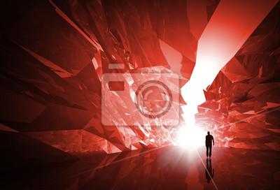 Carta da parati L'uomo cammina lungo il corridoio cristallo rosso con l'estremità incandescente