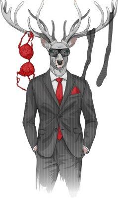 Carta da parati l'uomo con la testa e biancheria articoli del cervo su corna