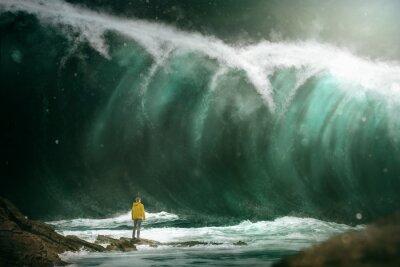 Carta da parati L'uomo di fronte a uno tsunami