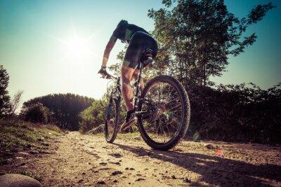 Carta da parati L'uomo in sella su una strada sterrata in mountain bike