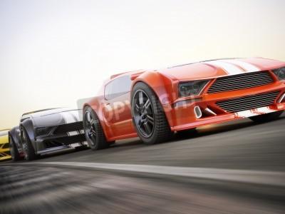 Carta da parati La corsa, auto sportive esotiche corsa con sfocatura di movimento. Generico personalizzato foto realistico rendering 3D.
