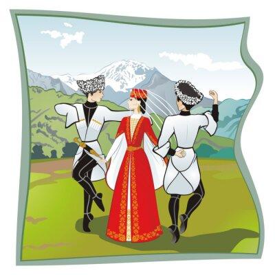 Carta da parati La danza lezginka, Danze della del Caucaso del Nord. Due uomini e una donna che balla sul prato lezginka osseto. In montagna di sfondo, illustrazione vettoriale