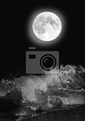 La Luna Piena Sul Mare Di Notte Carta Da Parati Carte Da Parati