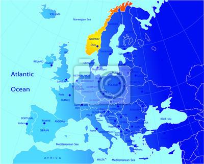 Cartina Politica Norvegia.La Mappa Politica Deuropa Norvegia Carta Da Parati Carte Da Parati Politico In Tutto Il Mondo Griglia Myloview It
