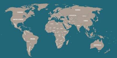 Carta da parati La mappa politica del mondo