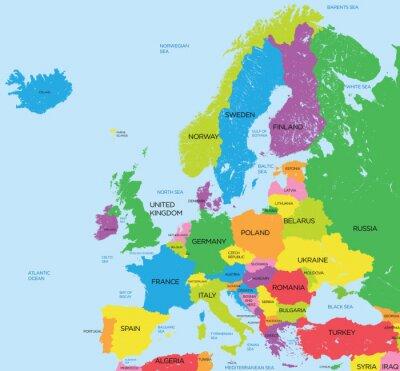 Carta da parati La mappa politica dell'Europa elevato dettaglio