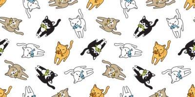 Carta da parati La sciarpa senza cuciture del fumetto del calicò del gattino del pesce di vettore del gattino del gattino di vettore del modello ha isolato l'illustrazione di scarabocchio della carta da