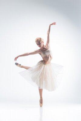 Carta da parati La silhouette della ballerina su sfondo bianco