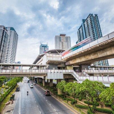 Carta da parati La stazione della metropolitana di Bangkok al crepuscolo