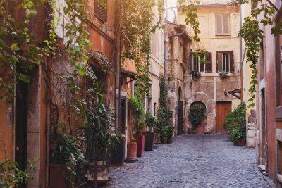 Carta da parati la strada accogliente a Roma, Italia