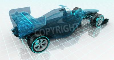 Carta da parati La tecnologia auto formula wireframe schizzo vista posteriore motorsport sfondo prodotto di design superiore della mia