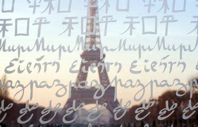 Carta da parati La Torre Eiffel vista attraverso la parete per pace