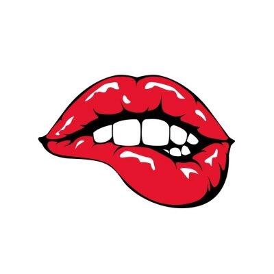 Carta da parati Labbra rosse icona mordere su sfondo bianco.