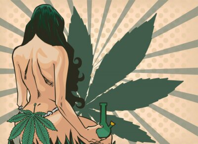 Carta da parati Lady with cannabis leaf. The marijuana leafs on the background. Naked woman, vector image