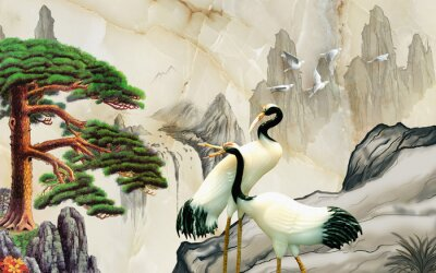 Carta da parati Landscape illustration, marble, mountains, a pair of cranes, green pine on a rock