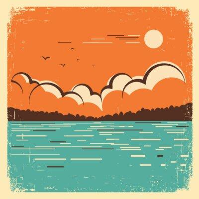 Carta da parati  landscape with blue big lake on old poster