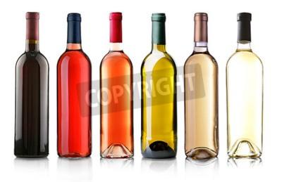 Carta da parati Le bottiglie di vino in fila isolato su bianco