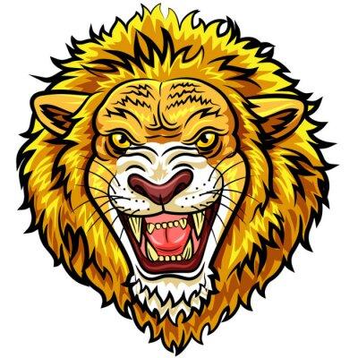 Carta da parati leone arrabbiato mascotte Cartoon testa