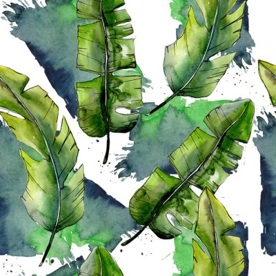 Carta da parati Leschi verdi tropicali in un modello stile acquerello. Foglia di aquarelle per sfondo, trama, modello di involucro, cornice o bordo.