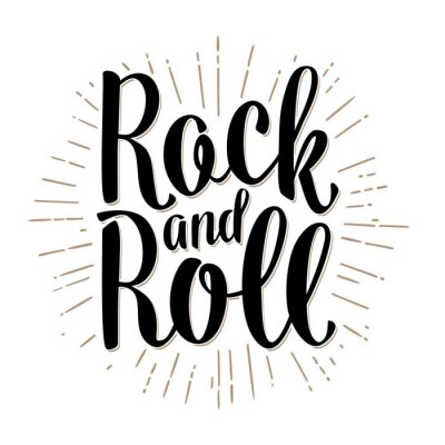 Carta da parati Lettera Rock and Roll con raggi. Vettore d'epoca