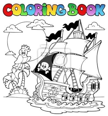 Libro Da Colorare Con Nave Dei Pirati 2 Carta Da Parati Carte Da Parati Colorazione Ossatura Osso Myloview It