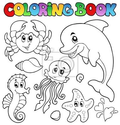 Libro Da Colorare Vari Animali Marini 2 Carta Da Parati Carte Da