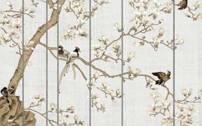 Carta da parati Light textured background, white magnolia flowers on a tree and birds