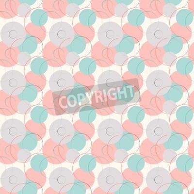 Carta da parati Linea geometrica astratta e rotondo senza soluzione di continuità. Illustrazione per il design moderno. Colore blu, bianco, rosa e grigio.
